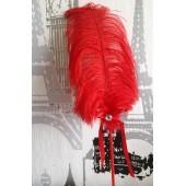 А-3.  Красный цвет. Ручка из пера страуса
