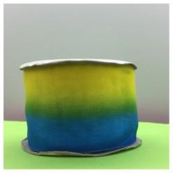 30 м. Желто-голубой цвет. Цветная капроновая лента 5 см