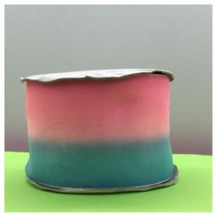 30 м. Розово-голубой цвет. Цветная капроновая лента 5 см