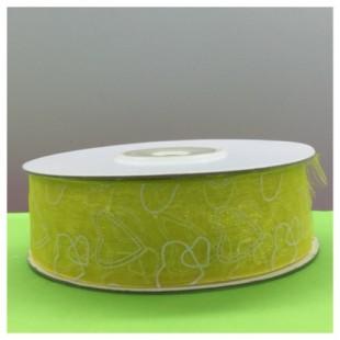 25 м. Желтый цвет. Капроновая лента с сердечком. 2.5 см