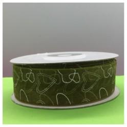 25 м. Зеленый цвет. Капроновая лента с сердечком. 2.5 см