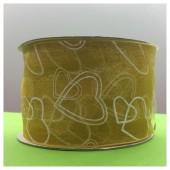 25 м. Золото цвет. Капроновая лента с сердечком. 5 см