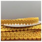 С-17. 1 м. Желтый цвет цвет. Тесьма кружевная. Косичка 1 см