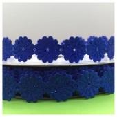 М-8. 1 м. Синий цвет цвет. Тесьма кружевная. Цветочек 1.5 см