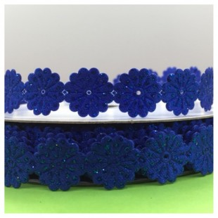 М-8. 29 м. Синий цвет цвет. Тесьма кружевная. Цветочек 1.5 см