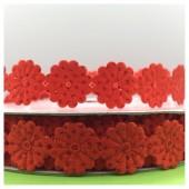 М-8. 1 м. Красный цвет цвет. Тесьма кружевная. Цветочек 1.5 см