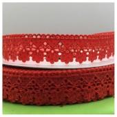 Е-404. 1 м. Красный цвет. Тесьма кружевная. Зигзаг 1.8 см