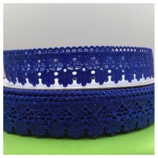 Е-404. 20 м. Синий цвет. Тесьма кружевная. Зигзаг 1.8 см