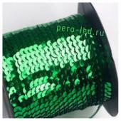 Зеленый хамелеон цвет.  Пайетки на бобине.  6 мм  90м
