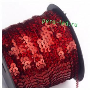 Красный хамелеон цвет.  Пайетки на бобине.  6 мм  90м