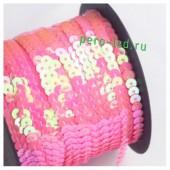 Розовый хамелеон цвет.  Пайетки на бобине.  6 мм  90м