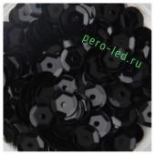 Черный цвет. Пайетки круглые  6 мм  1000 шт