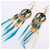 65. Голубой цвет. Серьги с перьями