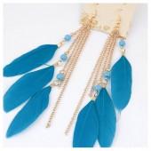 18. Голубой цвет. Серьги с перьями