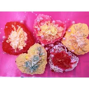 Сердечко с цветами. Фигурное мыло ручной работы. № 1