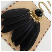 0999. Черный цвет. Подвеска с перьями