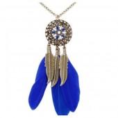 0992. Синий цвет. Подвеска с перьями