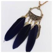 0955. Темно-синий цвет. Подвеска с перьями