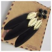 0927. Черный цвет. Подвеска из перьев птиц