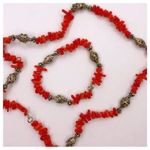 Бусы и браслет из натурального красного коралла