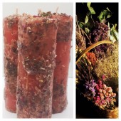 Любовная магия. Красная свеча с травами. Роза, лаванда, василек, мак, календула
