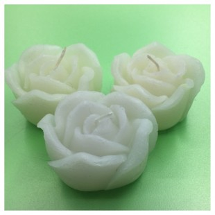 3 шт. Белый цвет. Свеча ручной работы Роза
