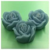 3 шт. Голубой цвет. Свеча ручной работы Роза