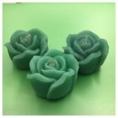 3 шт. Зеленый цвет. Свеча ручной работы Роза