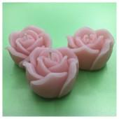 3 шт. Розовый цвет. Свеча ручной работы Роза
