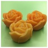 3 шт. Оранжевый цвет. Свеча ручной работы Роза