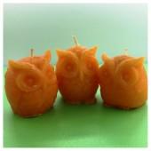 3 шт. Оранжевый цвет. Свеча ручной работы Сова