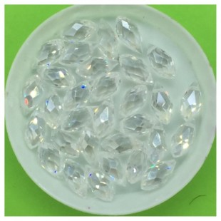 50 шт. Белый прозрачный цвет. Бусинки стеклярус 6х12 мм. Р-35  № 1