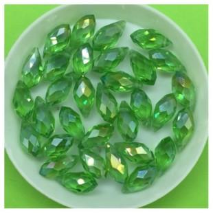50 шт. Светло-зелень хамелеон цвет. Бусинки стеклярус 6х12 мм. Р-35 № 22