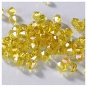 Желтый прозрачный цвет. Биконусы стеклянные бусинки 100 шт. 4мм. #1405 #3