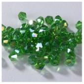 Зеленый прозрачный цвет. Биконусы стеклянные бусинки 100 шт. 4мм.  #1405  #24