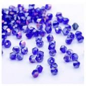 Темно-синий прозрачный цвет. Биконусы стеклянные бусинки 100 шт. 4мм.  #1405  #8