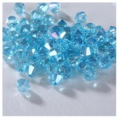 Голубой хамелеон цвет. Биконусы стеклянные бусинки 100 шт. 4мм. #1405 #9