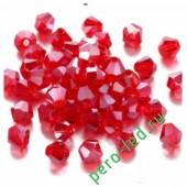Красный прозрачный цвет. Биконусы стеклянные бусинки 100 шт. 4мм.  #1405  #14