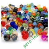 Микс цвет. Биконусы стеклянные бусинки 100 шт. 4мм. #1405 #25