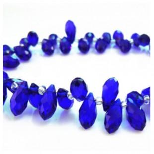 Синий прозрачный цвет. Каплевидные с гранями бусинки 6*12. 20 шт. #27  #045
