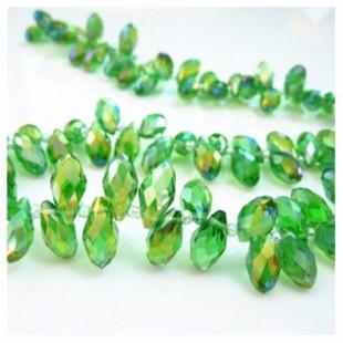 Зеленый хамелеон цвет. Каплевидные с гранями бусинки 6*12. 20 шт. #22  #045