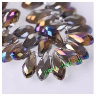 Фиолетово прозрачный хамелеон цвет. Каплевидные с гранями бусинки 6*12. 20 шт. #15  #045