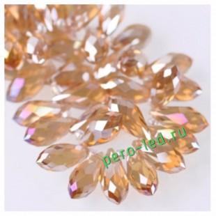 Бежевый прозрачное цвет. Каплевидные с гранями бусинки 6*12. 20 шт. #19  #045
