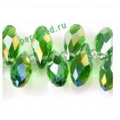 Зеленый хамелеон цвет. Каплевидные с гранями бусинки 6*12. 20 шт. #8  #045