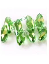 Зеленый прозрачный цвет. Каплевидные с гранями бусинки 6*12. 20 шт. #7  #045