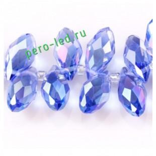 Сине-голубой хамелеон цвет. Каплевидные с гранями бусинки 6*12. 20 шт. #26  #045
