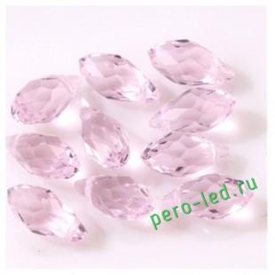 Розовый прозрачный цвет. Каплевидные с гранями бусинки  6*12.  20 шт.  #4