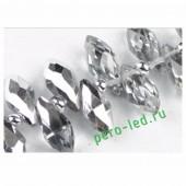 Серебро прозрачное цвет. Каплевидные с гранями бусинки 6*12. 20 шт. #18  #045