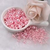 Розовый с перламутром цвет. Бусинки акриловые цветные. 10 мм 100 шт # 050