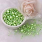 Светло-зеленый с перламутром цвет. Бусинки акриловые цветные. 10 мм 100 шт  # 050